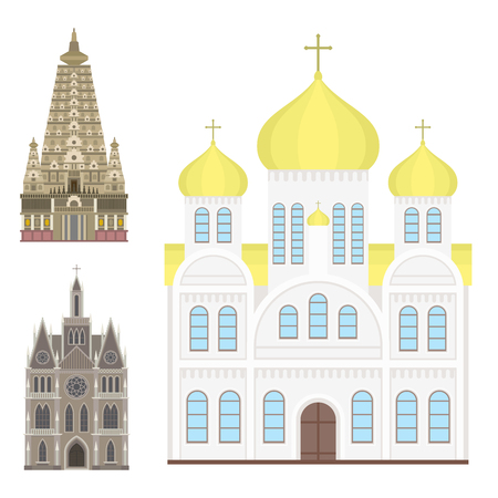 A cathedral and church traditional temple building landmark tourism vector illustration. Illustration