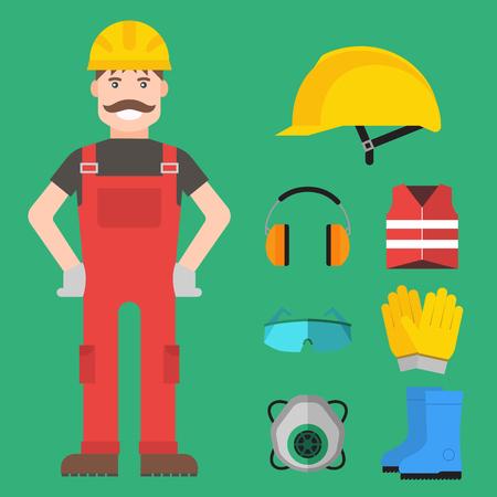 Safety industrial gear kit man tools flat vector illustration.