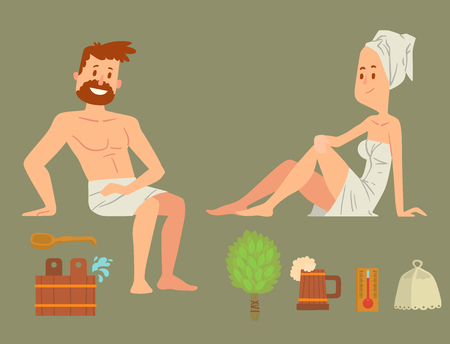 Bath people body washing face and bath taking shower steam take luxury relaxation characters vector illustration. Young human relaxing in spa health care concept brushing vector. Illustration