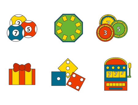 Casino game icons poker gambler symbols and blackjack cards money winning with roulette gambler joker slot machine concept vector illustration. Fortune roulette success entertainment play coin. Stock Vector - 87953870
