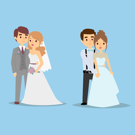 Wedding couple is hugging each other vector illustration. Illustration