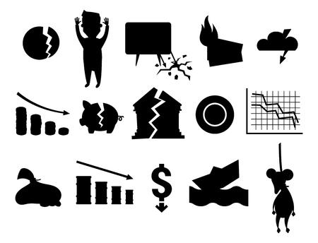 Crisis symbols black silhouette concept problem economy banking business finance design investment icon vector illustration. Money collapse depression credit economic.