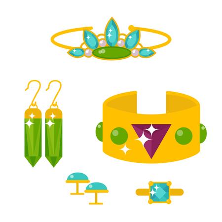 Set von Vektor-Schmuck-Elemente Gold und Edelsteine ??kostbare Zubehör Modeartikel Vektor-Illustration. Schönheit Anhänger Symbol Tiara Halskette Perle Perlen Ring Ohrringe Armband Brosche. Standard-Bild - 87985633