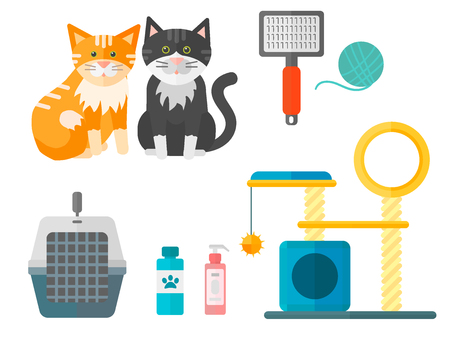 Colorful feline accessory and cute animal icons Ilustração