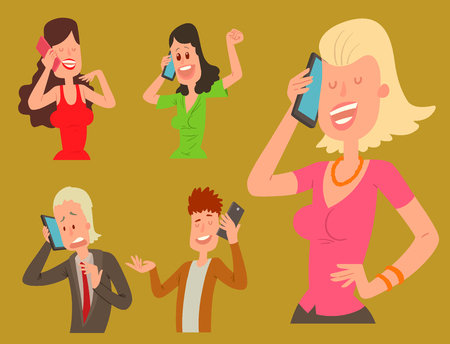 Business professional people with phone and female executive success character with smartphone vector illustration. Successful talking his cell.