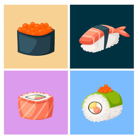 Japanese cuisine traditional food icons Stock Vector - 87993996