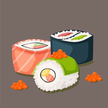 Sushi japanese cuisine traditional food flat healthy gourmet icons asia meal culture roll vector illustration.