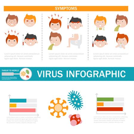 바이러스 의료 질병 발열 infographic 예방 인간의 보호 고통 sicknes 템플릿 디자인 벡터 일러스트 레이 션.