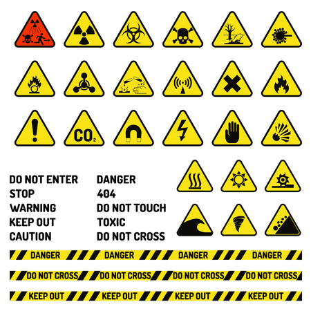 Prohibition signs industry production vector warning danger symbol forbidden safety information protection no allowed caution information.