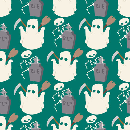Halloween ghost seamless pattern background night rip party trick or treat candies vector illustration. Illustration