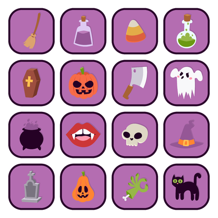 Halloween carnival symbols icons vector illustration with pumpkin and ghost spooky october autumn fear creepy traditional sign.