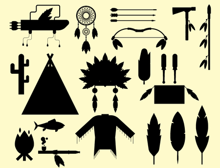 Wild west american indian designed silhouette element traditional native tribal ethnic feather culture vector illustration.