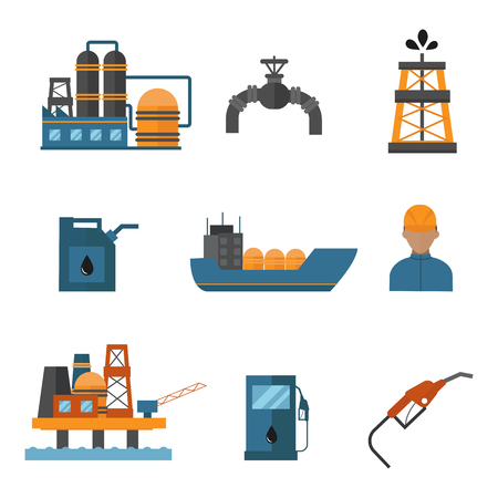 Mineral oil petroleum extraction production transportation factory logistic equipment vector icons illustration Banco de Imagens - 88026044