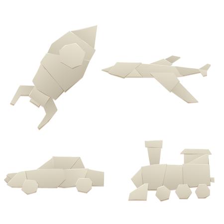 折り紙ロジスティック紙輸送コンセプト オリジナル フラット旅行紙シート交通自由ベクトル イラスト。
