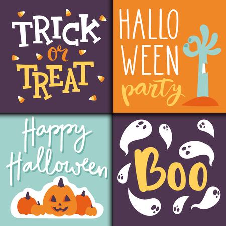 Set glückliche Halloween-Grußkarten. Standard-Bild - 88056027