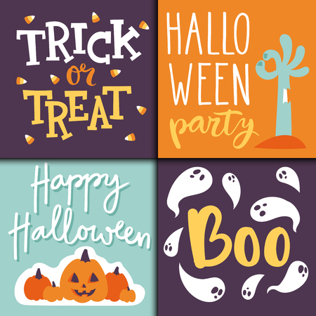 Set of happy halloween greeting cards.