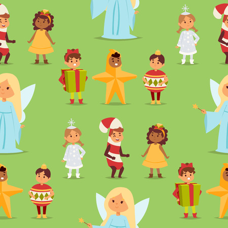 Illustration of cute kids in holiday costumes.