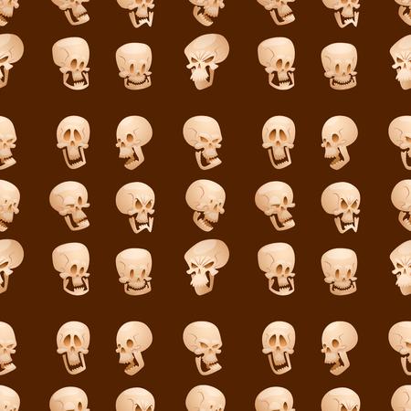 Skull bones human face halloween horror crossbones fear scary vector illustration seamless pattern background. Skull bones warning gothic cartoon character emotions avatar design.