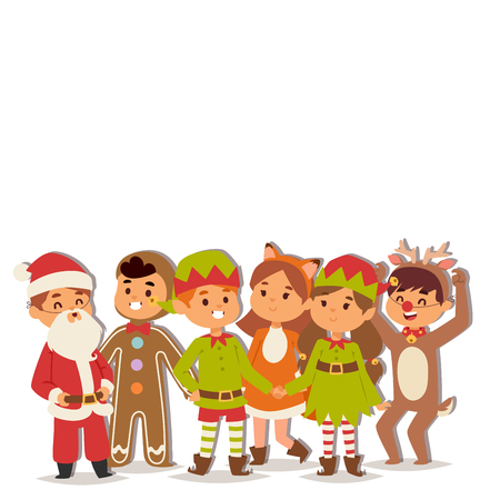 Illustration of Christmas carnival costume kids vector.