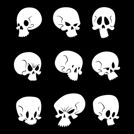 Skull bones human face halloween horror crossbones fear scary vector illustration isolated on background.