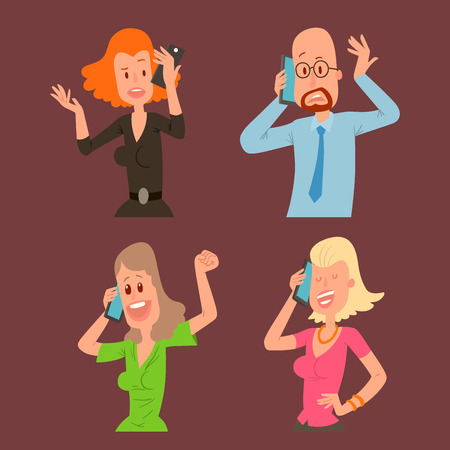 Successful professional business people character talking his cell phone vector illustration