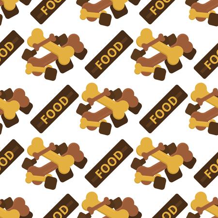 犬かむ骨ケア ビスケット動物性食品子犬犬のシームレスなパターン背景ベクトル イラスト。