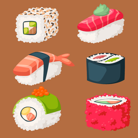 Sushi icons. Illustration