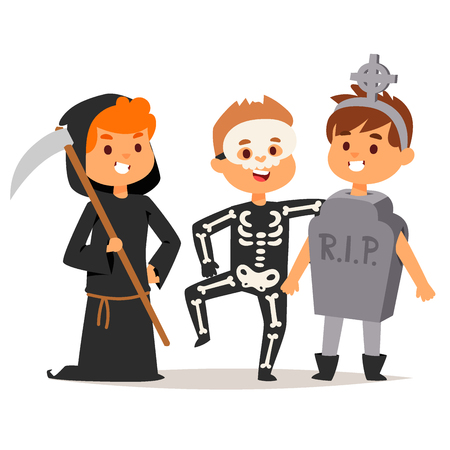 skeleton costume: Cute kids wearing Halloween party costumes vector. Illustration