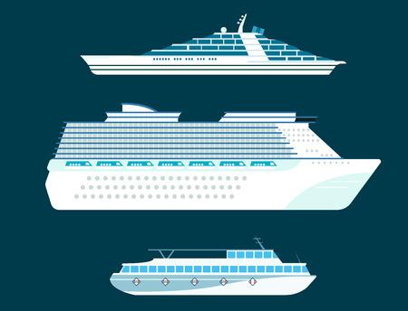 Schip cruiser boot zee symbool schip reizen industrie vector zeilboten cruise set van mariene pictogram