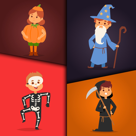 Cute kids wearing Halloween costumes icon.