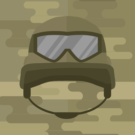 Military modern camouflage helmet army symbol of defense protection and soldier uniform hat protective steel armed equipment vector illustration.