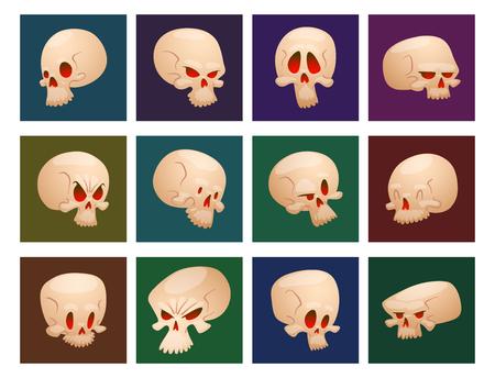 Skull bones human face halloween cards horror crossbones fear scary vector illustration isolated on background.