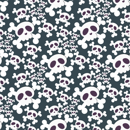 Skull bones human face halloween horror crossbones fear scary vector illustration seamless pattern background.
