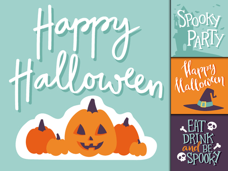 flayer: Set of happy halloween greeting cards to party. Vector illustration party invitation design with emblem. Typographic halloween invitation cards template. Halloween cover design Illustration