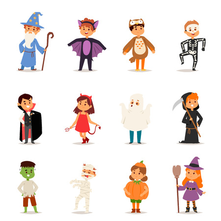 Cute kids wearing Halloween party costumes vector. Çizim