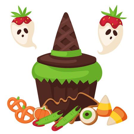 할로윈 쿠키 음식 밤 케이크의 기호 파티 트릭이나 치료 사탕 벡터 일러스트 레이 션. 일러스트