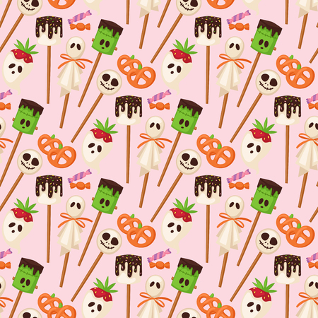 Halloween cookie seamless pattern background food night cake party trick or treat candies vector illustration. Çizim