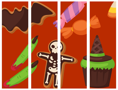 Halloween cookie food cards night cake party flayer trick or treat candies vector illustration.