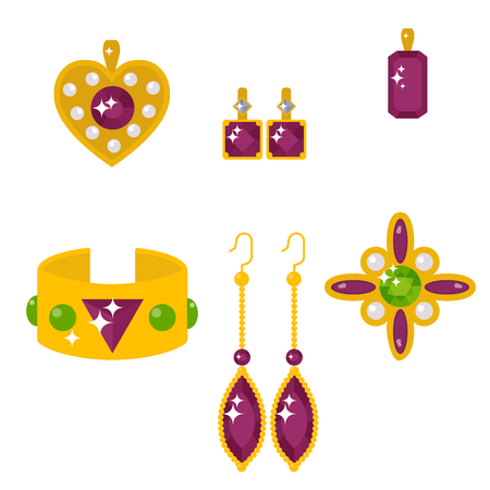 A vector of jewelry items and gemstones precious accessories illustration.