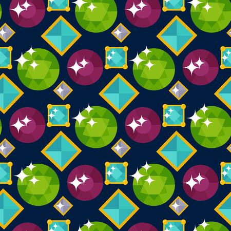 ジュエリー アイテムと宝石貴重なアクセサリーのシームレスなパターン図のベクトル。