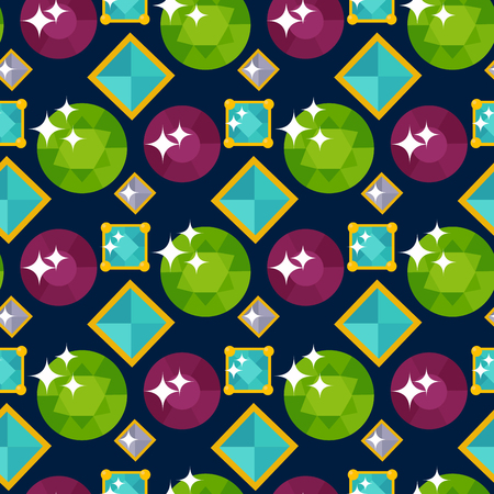 Vector of jewelry items and gemstones precious accessories seamless pattern illustration. Illustration