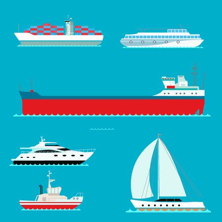 Een ander soort schip op blauwe achtergrond. Stock Illustratie