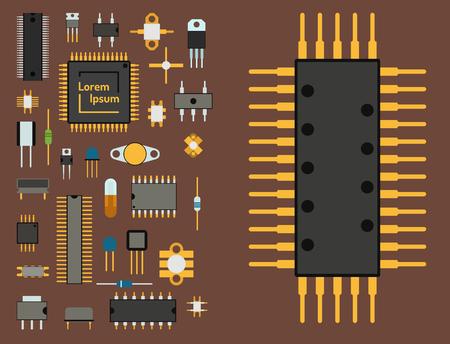 A computer chip technology processor circuit vector illustration. Illustration