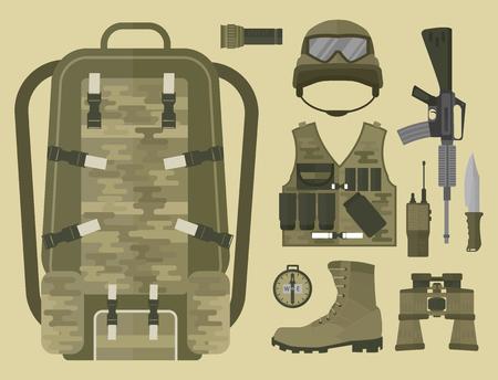 Een militair wapen met doek en accessoires vectorillustratie. Stock Illustratie