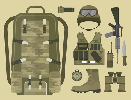 A military weapon with cloth and accessories vector illustration.