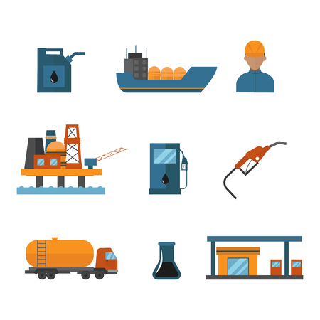 Mineral oil petroleum extraction production vector illustration.