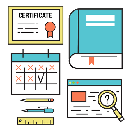 Flat design icons online education vector illustration.