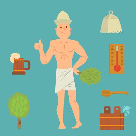 A man washing his taking shower steam vector illustration. Illusztráció