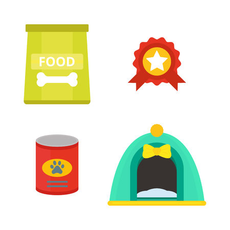 A dog food and accessories vector illustration.