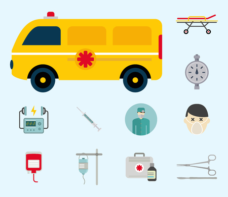 An ambulance with medical equipment and staff vector illustration. Illustration